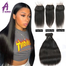 8 30 Inch Bundles With Closure Brazilian Straight Hair Weave Bundles With Closure Alimice Human Hair With Closure Remy