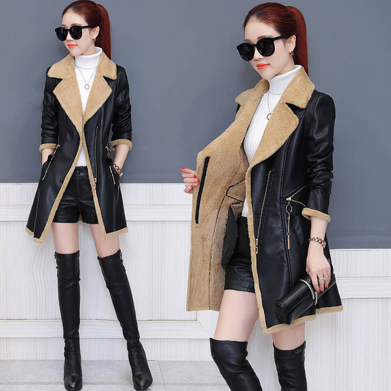 Leather   Jacket Women   Leather   Long Coat 2019 New Fashion Slim Plus Velvet PU   Leather   Jackets For Womens-3XL High Quality
