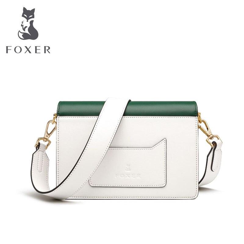 FOXER 2019 New Women leather bags Cowhide quality fashion patchwork women handbags women leather shoulder Crossbody bag 2