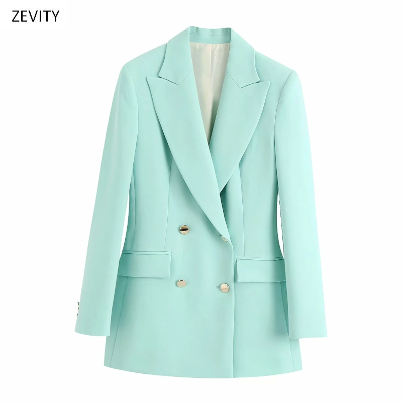 Zevity New Women Solid Color Double Breasted Blazer Notched Collar Long Sleeve Office Lady Causal Stylish Outwear Coat Tops C506