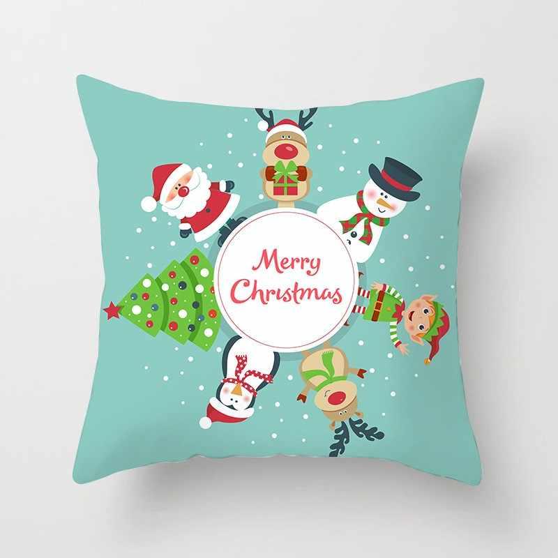 Áo Gối Giáng Sinh Mới Nai Sừng Tấm Ông Già Noel Cây Giáng Sinh In Đệm Gối Trên Xe Ô Tô Giường Nhà Áo Gối Наволочка Hot # l5