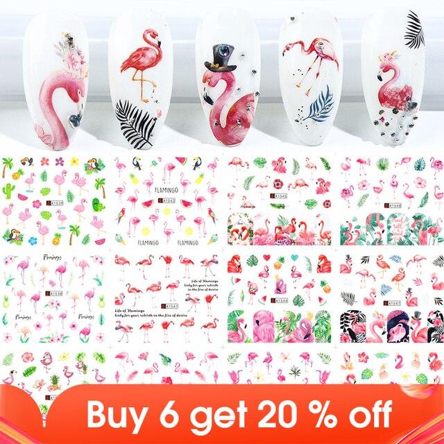 12Pcs Flamingo Nail Sticker Bloem Blad Water Decal Transfer Nail Sliders Zomer Tattoo Nail Art Decoratie Tip JIA1537 1548 1
