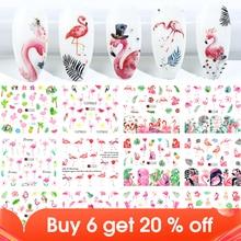 12pcs Flamingo Nail Sticker Flower Leaf Water Decal Transfer Nail Sliders Summer Tattoo Nail Art Decoration Tip JIA1537 1548 1