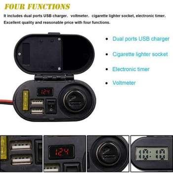 Motorrad Zigarette Leichter Buchse Dual USB Ladegerät Schalter Voltmeter Wasserdicht DC 12 V/24 V USB Ladegerät GPS Telefon