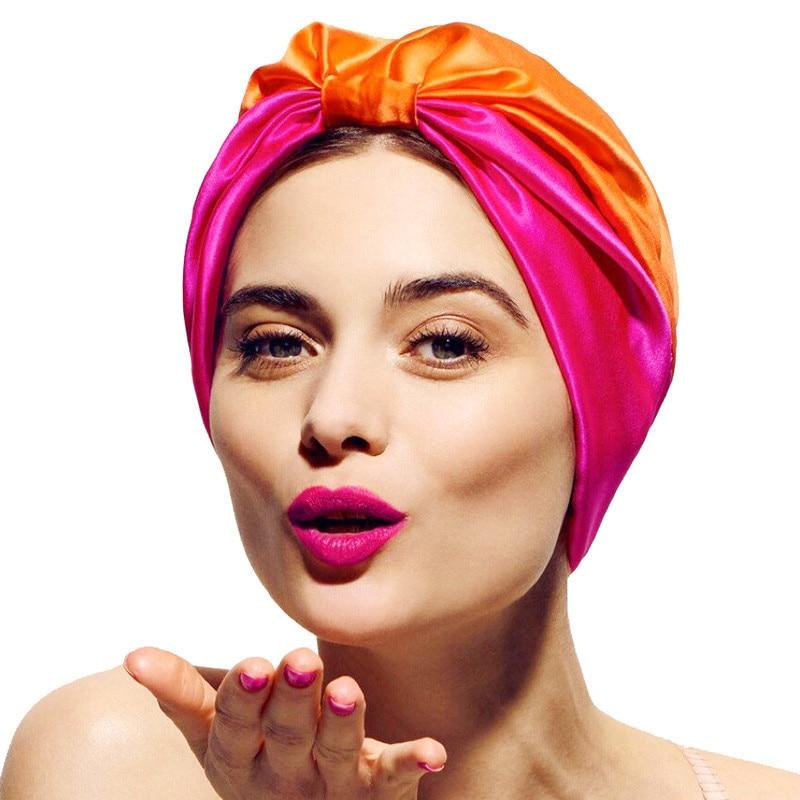 2019 Trendy Woman Satin Hijab Caps Soft Elastic Muslim Turban Bonnet Double Layer Inner Hijabs Cap Head Scarves For Ladies