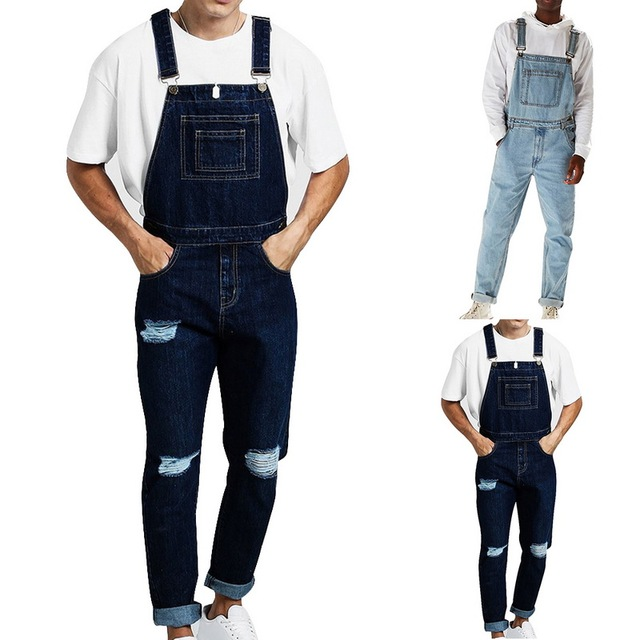 Richkeda Store New Bib Overalls For Man Suspender Pants Men's Jeans Jumpsuits High Street Distressed  Autumn Fashion Size S-3XL 2