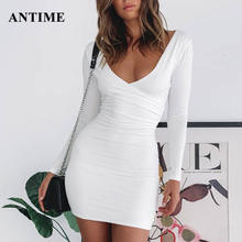 Antime Black Red Women Mini Dress Bodycon Club Party Long Sleeve V Neck Women Sheath Autumn Winter Tunic Sexy Ladies Dress(China)