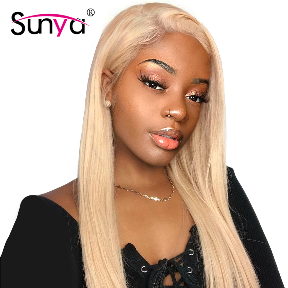 613 Mongolian Straight Human Hair Wigs 4*4 Blonde Closure Wig 150% Density Glueless Lace Front Human Hair Wig for Black Women image