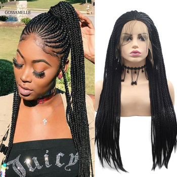 Gossamelle Natural Black Synthetic Lace Front Wigs Braided Box Braids Wigs For Women With Baby Hair African American