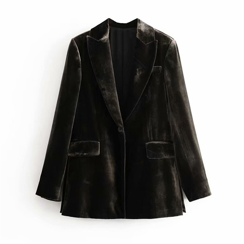 Stylish Velvet Women Suit Blazer Pockets Long Sleeve Single Button Side Split Blazer Coats Female Office Wear Solid Tops