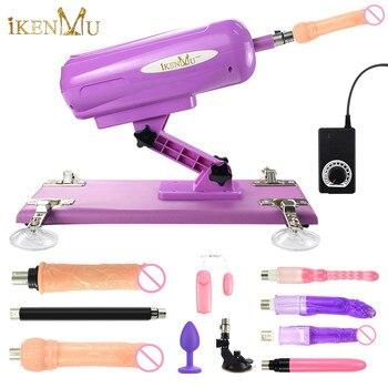 IKenmu automática máquina de sexo para mujer con 8 accesorio sexo máquina de ángulo ajustable masturbación femenina de arma juguetes sexuales