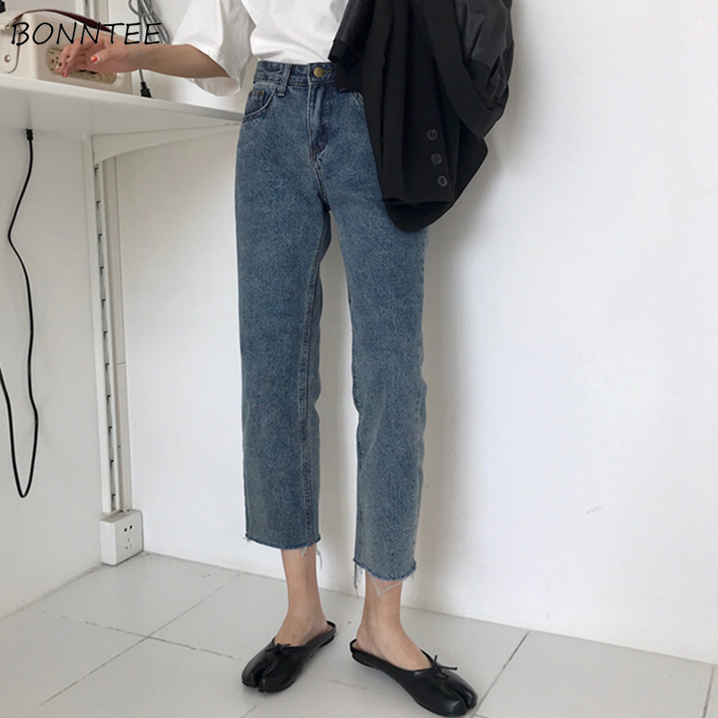 Jeans Women Spring Clothing Korean Style Retro All-match Trendy Womens Chic Ankle-Length Denim Trousers Straight Loose All-match