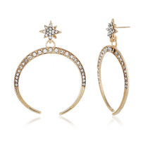 цена на and American fashion earrings personality full of contracted stars the moon stud earrings wish hot style