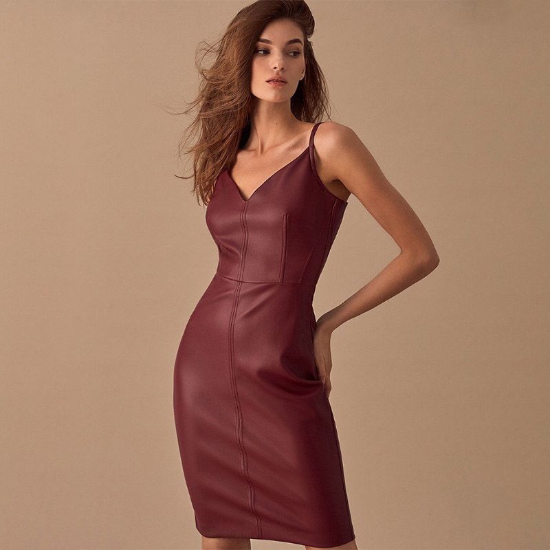Women Sexy V Neck Leather Spaghetti Strap Dress Backless Solid Elegant Party Dress Winter New Fashion Casual Knee Dresses SL18