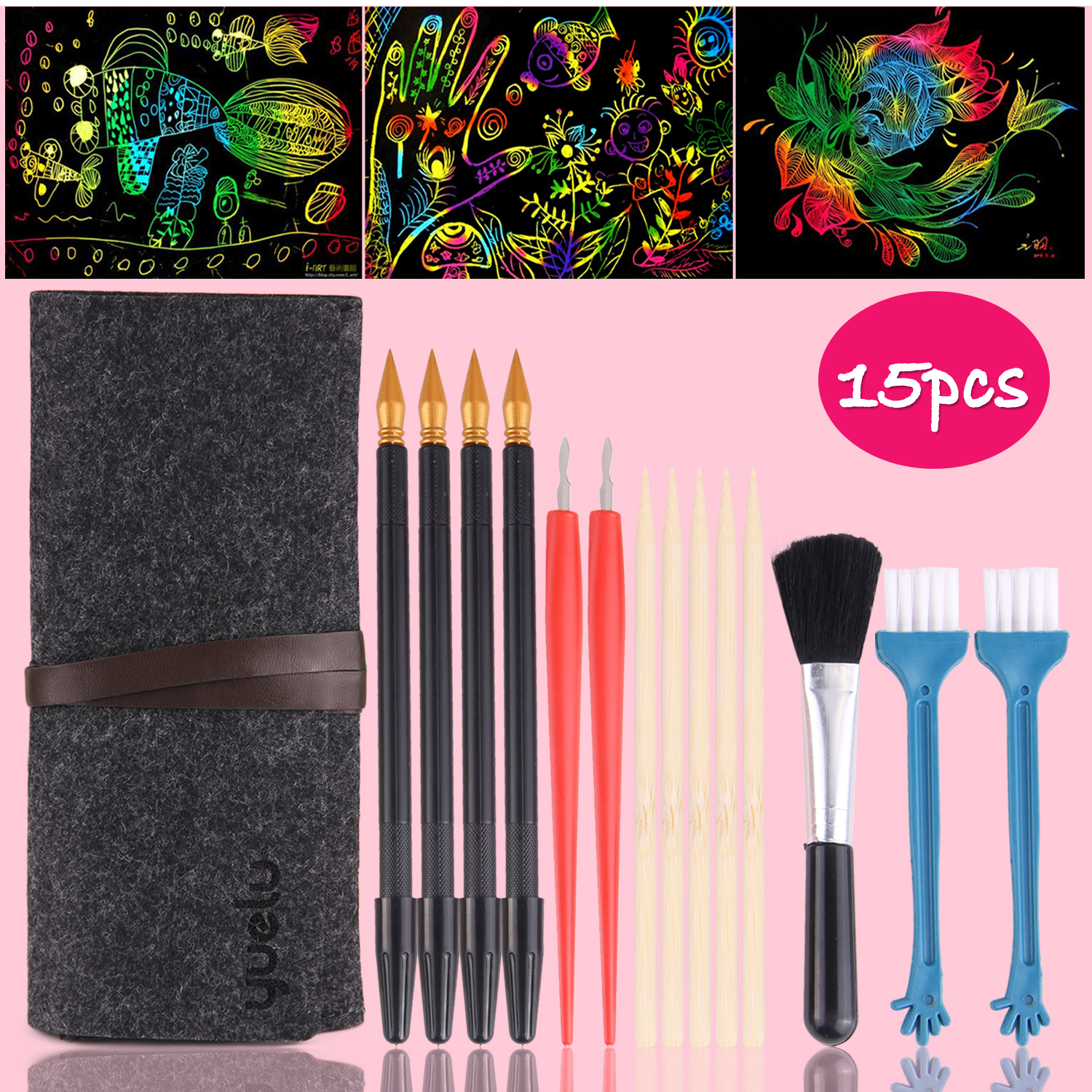 Kids 15PCS Scratch Art Tools Scratch Paper Coloring Pens Bamboo Drawing Sticks Repair Pen Brush Bag Scraping Painting Toy