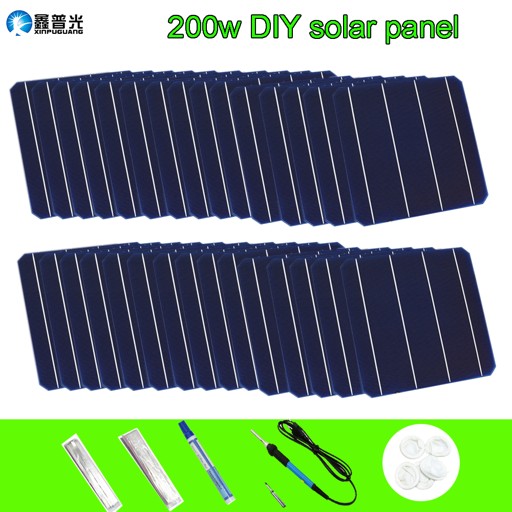 200w DIY solar panel 40pcs 0.5V 4.8W Solar Cell+ 0.15*1.6mm Tabbing Tab Wire + 0.2*5.0mm PV Bus Wire + Flux Pen Diy Panel(China)