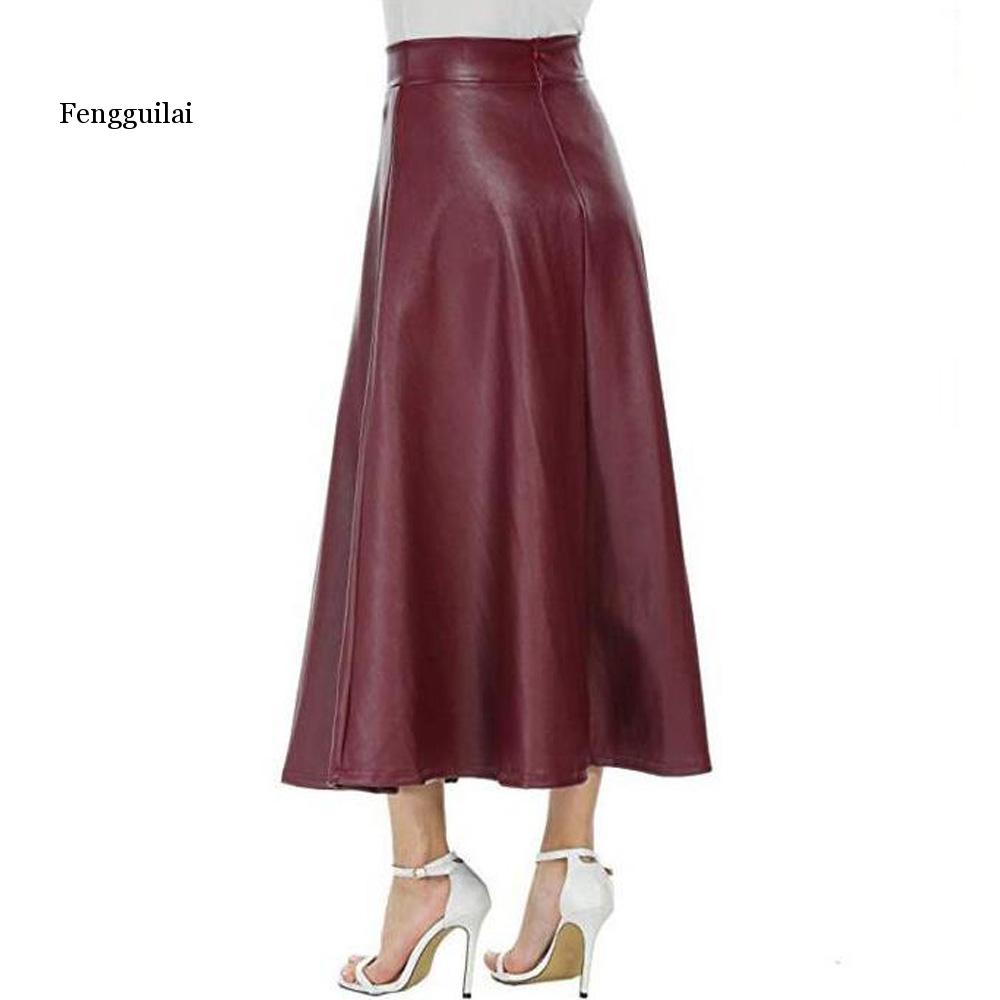 Women Sexy Pu Leather Skirt Fengguilai Autumn Winter High Waist Long Pleated Skirt Casual Office Work Ankle Length Skirt Femme
