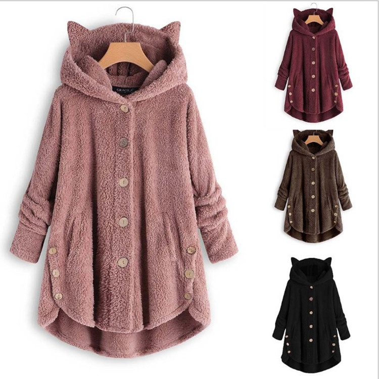Fashion Women Europe And The United States Button-cap Cat Ear Plush Top Irregular Hot-colored Coat Women Faux Fur Jacket