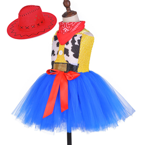 Image 3 - Toy Woody Cowboy Cowgirl Girls Tutu Dress with Hat Scarf Set Outfit Fancy Tulle Girl Birthday Party Dress Kids Halloween Costume