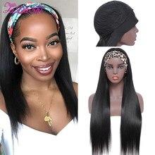 Fadashi cabelo bandana peruca do cabelo humano em linha reta gluless peruca de cabelo humano com cabeça cheia máquina feita peruca remy brasileiro peruca