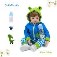 Bebe 46cm reborn bonecas do bebê macio silicone corpo crianças boneca menina ou menino moda brinquedo presentes de natal