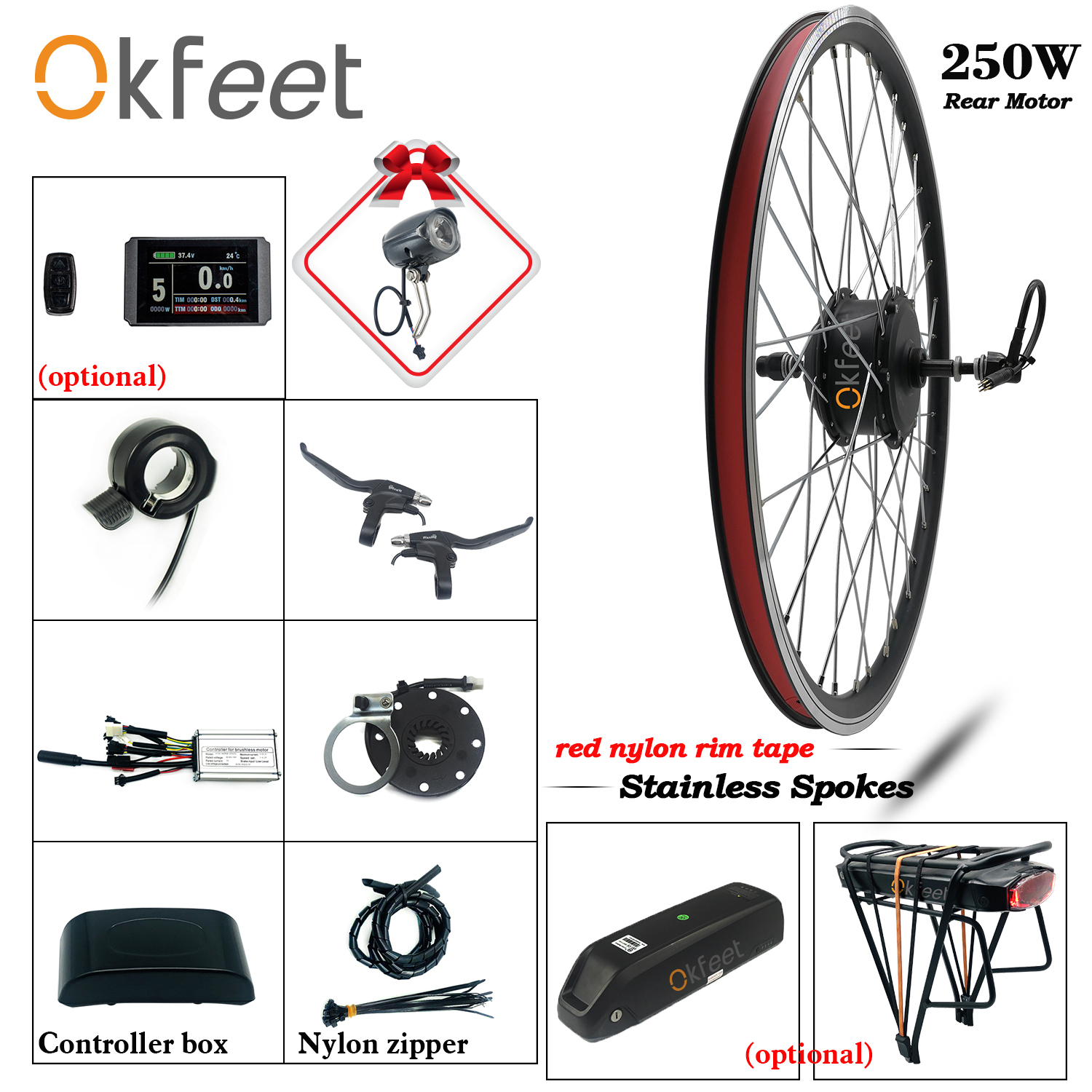 700c Electric Bicycle E-Bike Front Wheel Electric Bicycle Kit 30V 240W+Battery