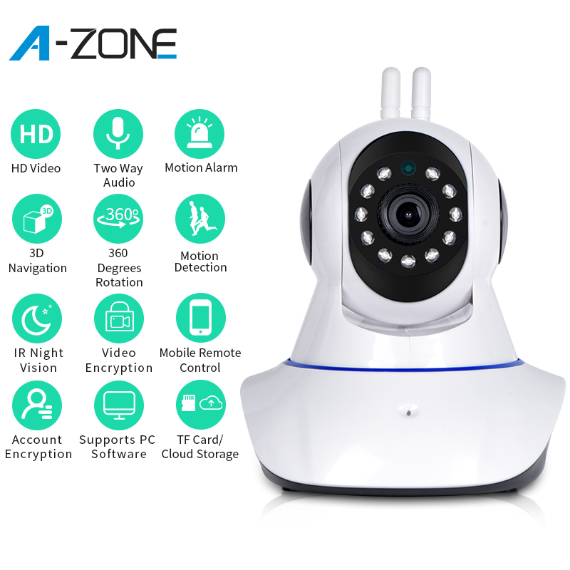 A-ZONE HD 1080P IP Camera Wireless Home Security 2.0MP Night Vision CCTV Network 360 Mini Wifi Surveillance Camera Baby Monitor