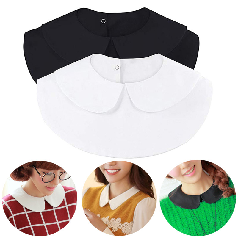 Fashion Shirt Fake Collar Vintage Solid White Black Tie Detachable Collar Lapel False Collar Removable Women Clothes Accessories