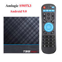 T95 MAX Plus Android caja de TV Android 9,0 Amlogic S905X3 Smart TV Box 4K Android caja de T95 MAX Quad Core 2,4G y 5G Wifi reproductor de medios