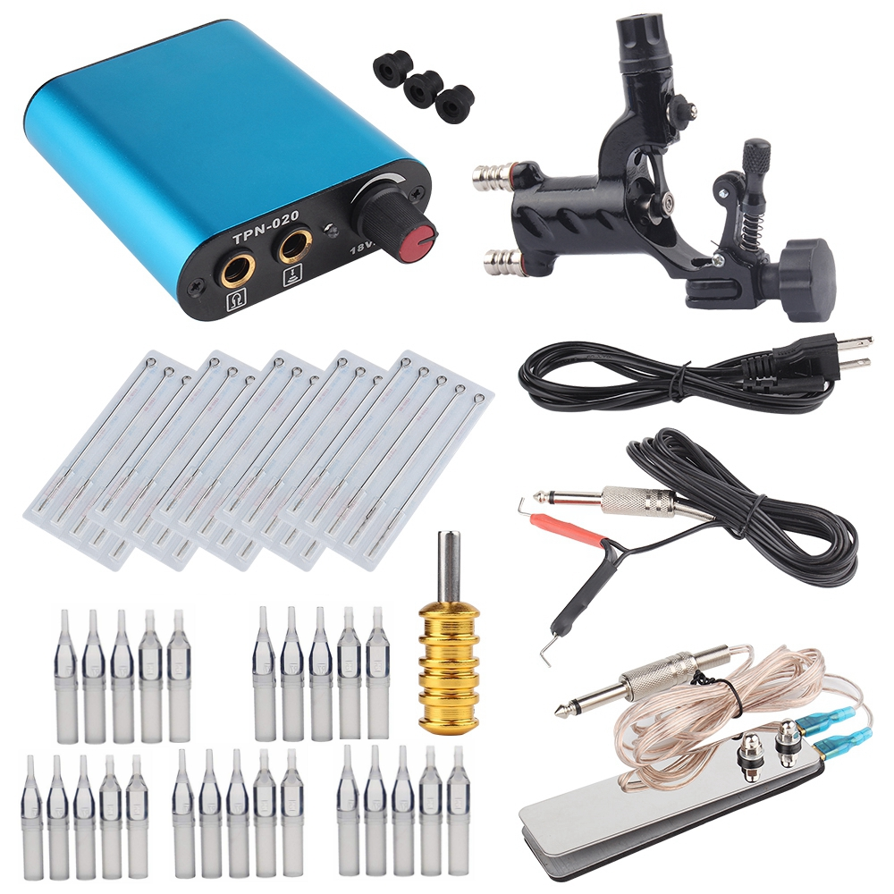 Rotary Tattoo Machine Shader Liner With Tattoo Needle And Disposable Tattoo Tips Tattoo Power Supply Tattoo Kit Free Shipping