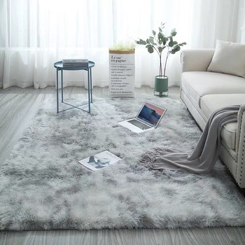 Grey Carpet Tie Dyeing Plush Soft Carpets For Living Room Bedroom Anti-slip Floor Mats Bedroom Water Absorption Carpet Rugs learning carpets us map carpet lc 201