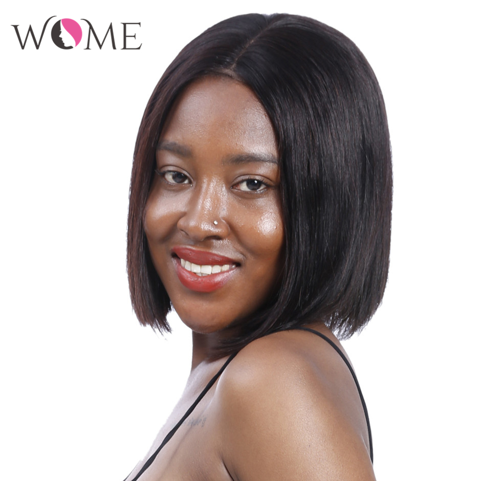 WOME Brazilian Straight Short Bob Wigs 13x4 Lace Front Human Hair Wigs Pre Plucked Hairline 150% Remy Lace Wig For Black Women
