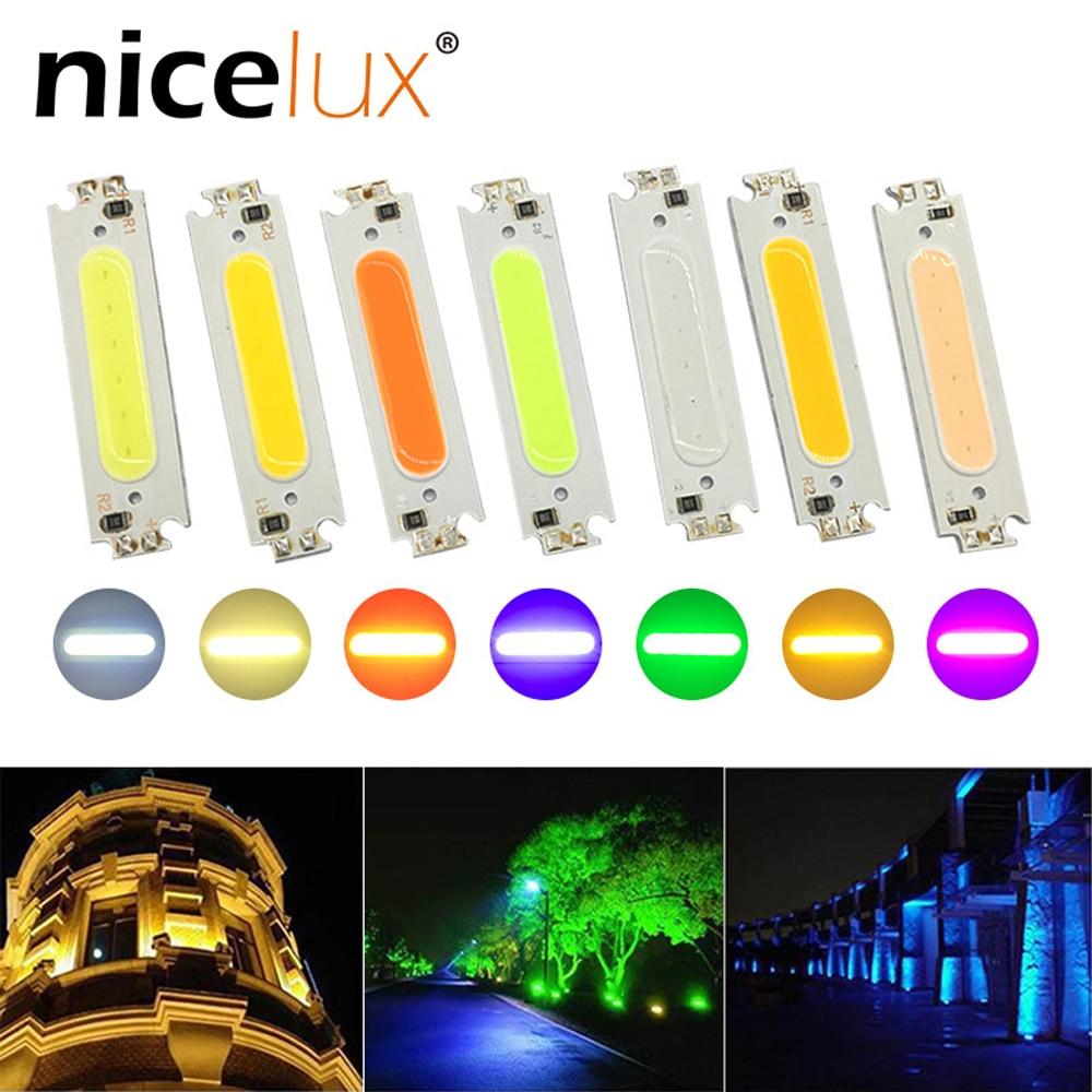 1pcs 60x15mmLED Long Strip Colorful COB Lamp Plate 2W Rectangular Lamp Beads For 12V Battery Modified Light Cob Light Source
