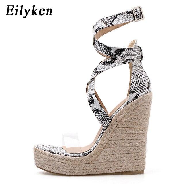 Eilyken Mới Rắn Nữ Mùa Hè Nền Tảng Dép Mở Giày Cao Gót Đế Xuồng Mắt Cá Chân, Khóa Dây Giày Plus Size 35 42