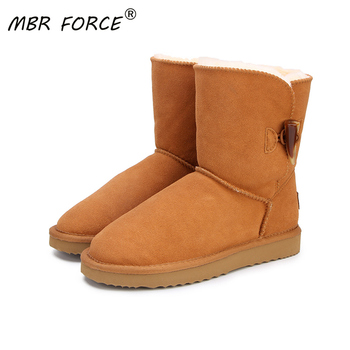 MBR FORCE horn buckle Genuine Leather Snow Boots for Female Winter Boots Women Warm Boots shoes Black style Female shoes 34-44 цена 2017