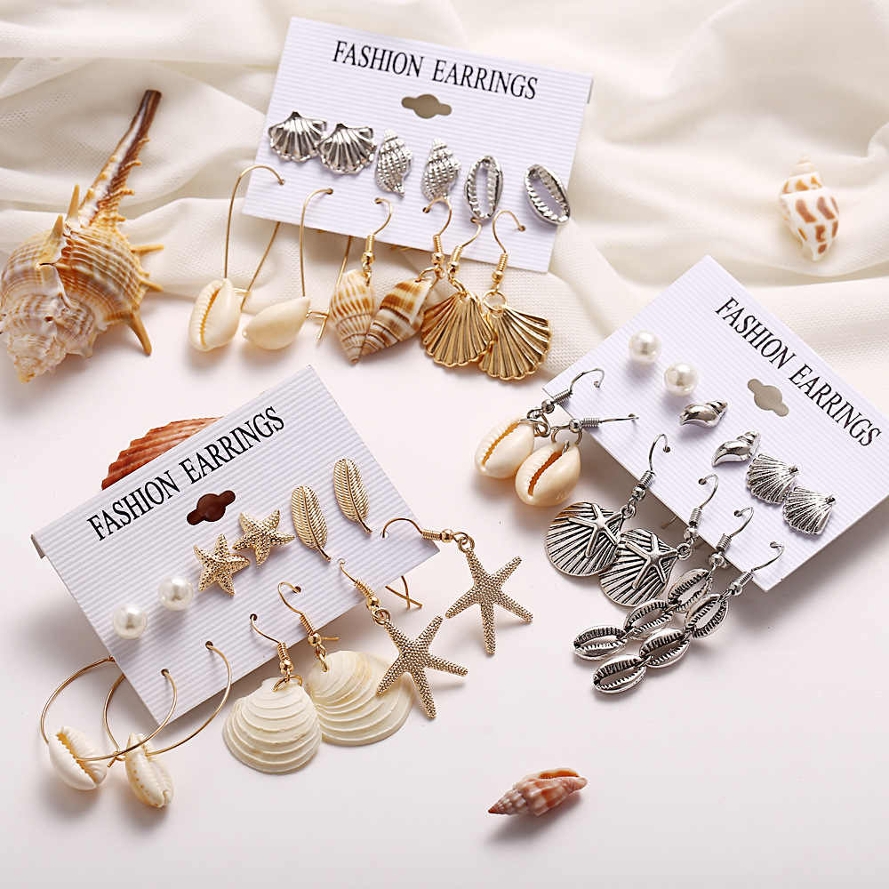 Women New Vintage Creative Gold And Silver Shell Natural Scallop Set Beach Earrings