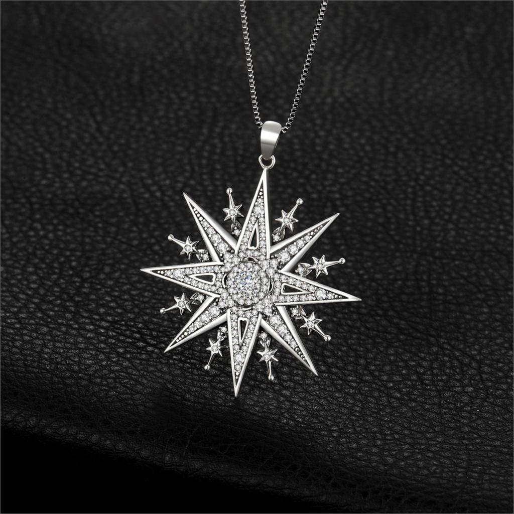 Image 2 - JewelryPalace Vintage Gothic Cubic Zirconia North Star Pendant Necklace Without a Chain 925 Sterling Silver Pendants for WomenNecklaces   -