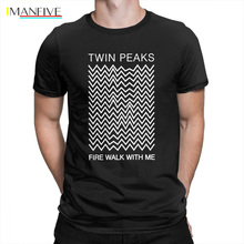 цена на Twin Peaks T-Shirt for Men Fire Walk with Me Short Sleeve Tee Apparel Vintage Style Mens T Shirts Pure Cotton Plus Size Simple