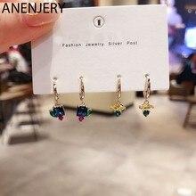 ANENJERY 925 Sterling Silber 6-stück Ohrringe Sets Perle Mosaik Zirkon Flugzeug Sterne Mond Universum Hoop Ohrringe Sets Für frauen