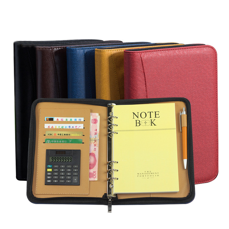 A6/A5/B5 Diary Notebook and Journal with Calculator Binder Spiral Note Book Business Manager Folder Padfolio Zipper Bag Handbook