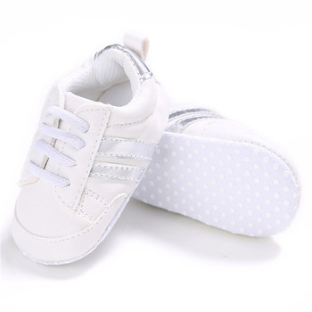 2020 Baby Shoes Newborn Boys Girls Two Striped First Walkers Kids Toddlers Lace Up PU Leather Soft Soles Sneakers 0-18 Months - 02, 7-12 Months