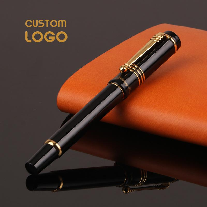 Custom Logo Metal Fountain Pen Luxury Office Business Nice Touch Feeling Red School Student Writing Pens Personalized Gift Pen