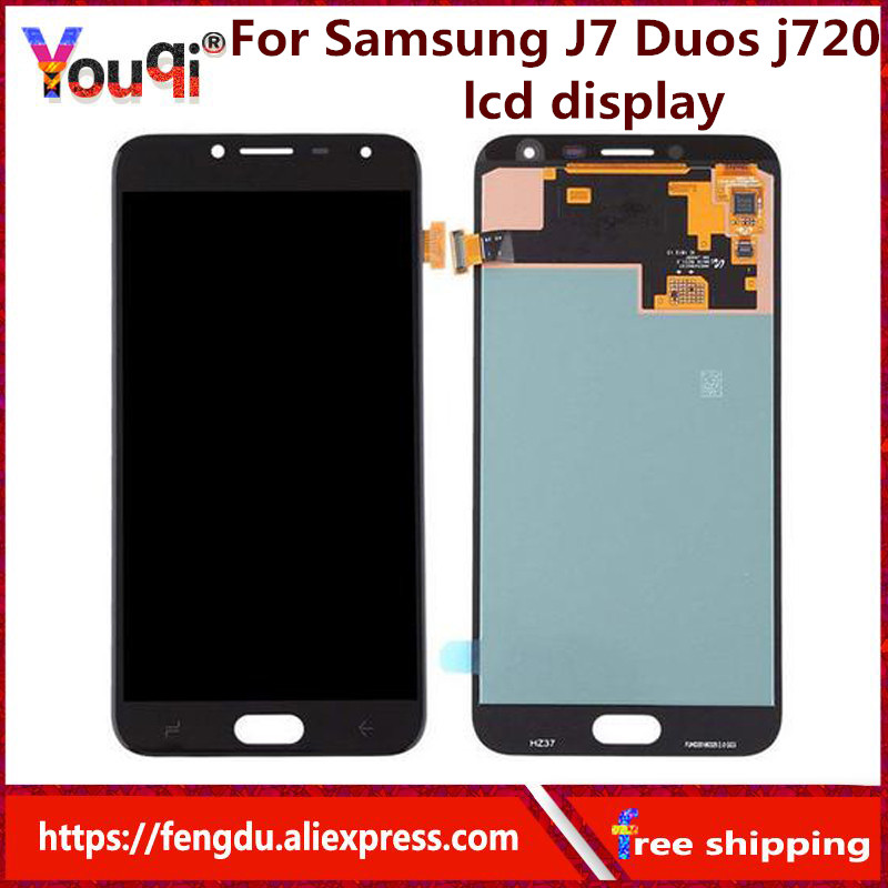 Youqi 5.5'' <font><b>LCD</b></font> for Samsung Galaxy J7 Duos 2018 <font><b>J720</b></font> <font><b>LCD</b></font> Display Touch Screen Digitizer Digitizer Assembly Repalcement Parts image