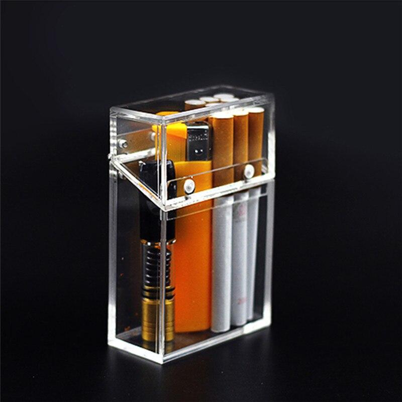 Caja de cigarrillos transparente a la moda, accesorios de Metal acrílico, encendedor engrosado portátil, embalaje, caja de almacenamiento a prueba de polvo