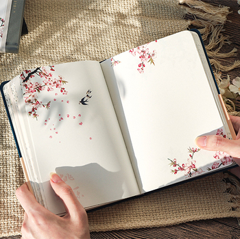 Color Inside Page Notebook Chinese Style Creative Hardcover Diary Books Weekly Planner Handbook Scrapbook Beautiful Gift 1