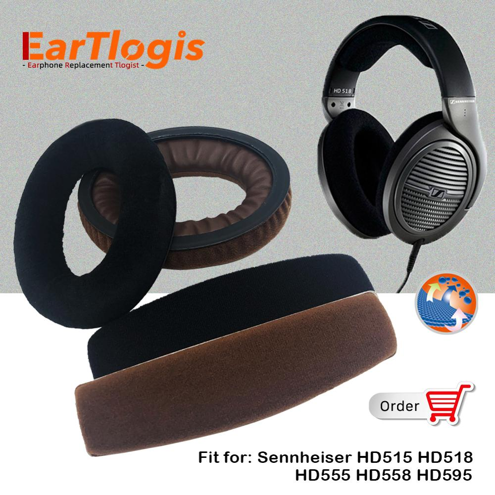 EarTlogis Velvet Replacement Parts for Sennheiser HD515 HD518 HD555 HD595 HD558 EarPads Bumper Headband Earmuff Cover Cushion
