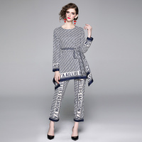 2019 summer new female blue suit letter printing tie waist irregular t shirt top + straight nine points trousers