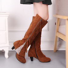 Женские сапоги, зимняя обувь, сапоги до колена, кружевные сапоги, женская обувь, Botas Mujer Invierno, 2019 размера плюс 34 43