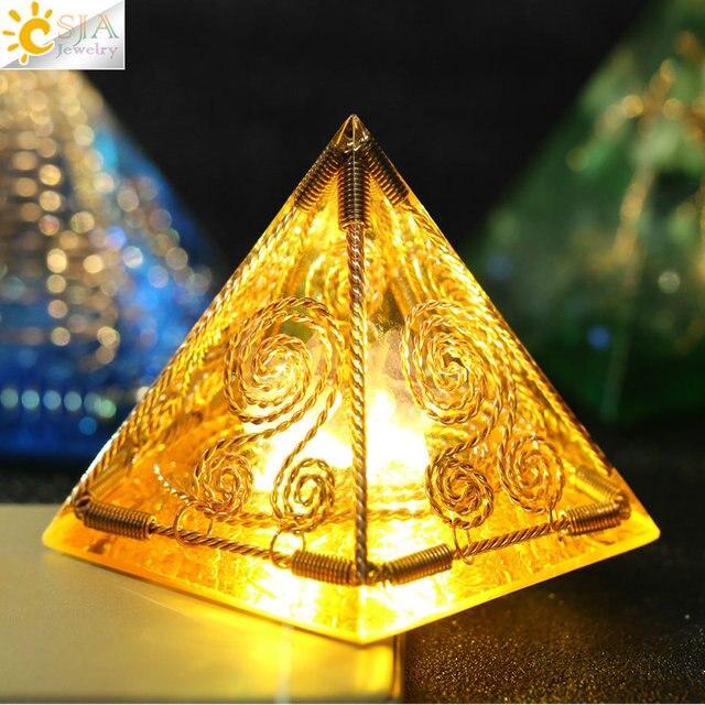CSJA orgon enerji dönüştürücü orgonit piramidi Metal tel doğal çakıl reçine Reiki şifa manevi zanaat dekorasyon hediye G250