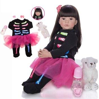"60cm Reborn Toddler Doll Cloth Body 24"" Vinyl silicone baby reborn princess doll l.o.l girls birthday gift toy dolls"